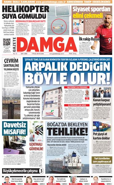 Gazete Damga - 07.09.2018 Manşeti