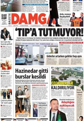 Gazete Damga - 16.01.2018 Manşeti
