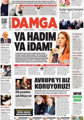 Gazete Damga - 19.02.2018 Manşeti