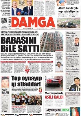 Gazete Damga - 22.02.2018 Manşeti