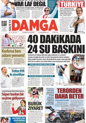 Gazete Damga - 18.06.2018 Manşeti