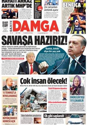 Gazete Damga - 14.08.2018 Manşeti