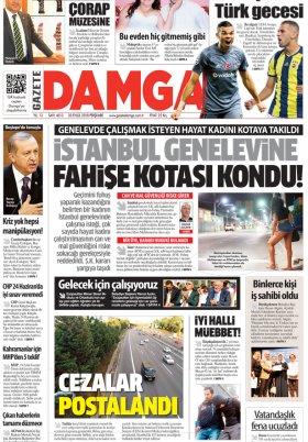 Gazete Damga - 20.09.2018 Manşeti