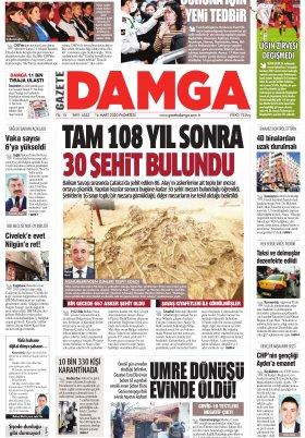 Gazete Damga - 16.03.2020 Sayfaları