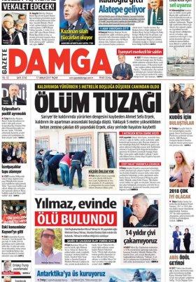Gazete Damga - 17.12.2017 Manşeti