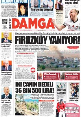 Gazete Damga - 18.07.2018 Manşeti