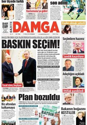 Gazete Damga - 19.04.2018 Manşeti