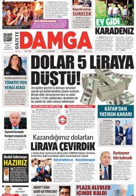 Gazete Damga - 16.08.2018 Manşeti