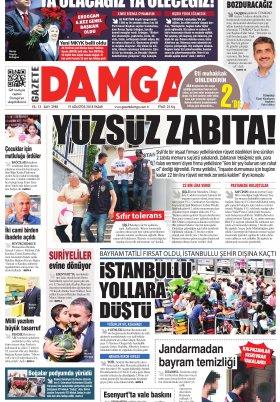 Gazete Damga - 19.08.2018 Manşeti