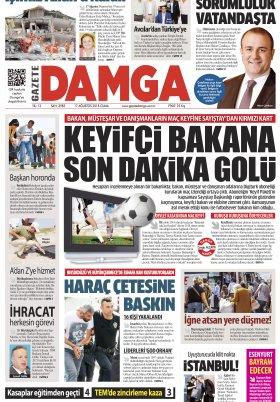 Gazete Damga - 17.08.2018 Manşeti