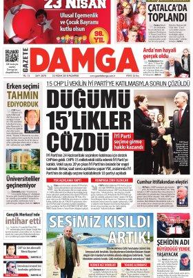 Gazete Damga - 23.04.2018 Manşeti