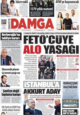 Gazete Damga - 21.09.2018 Manşeti