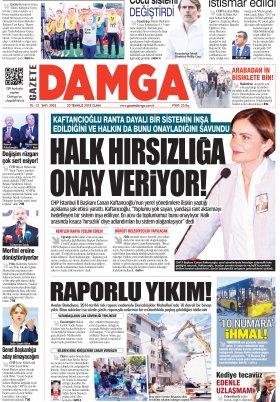 Gazete Damga - 20.07.2018 Manşeti