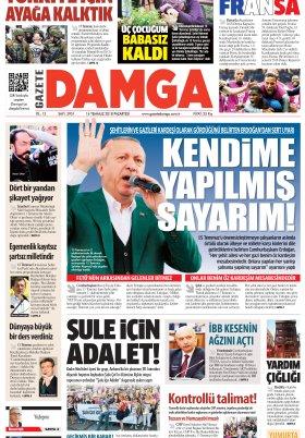 Gazete Damga - 16.07.2018 Manşeti