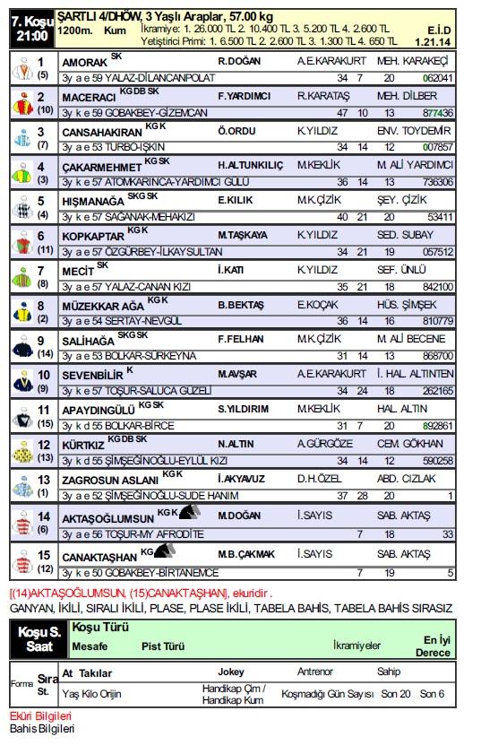 7 Kasım 2018 Şanlıurfa at yarışı programı
