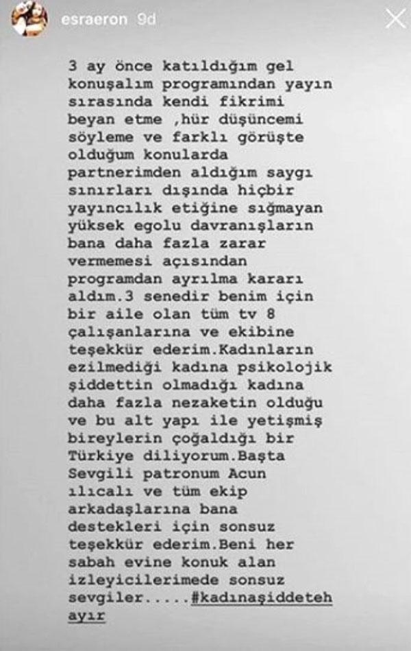esra eron instagram hikayesi açıklama
