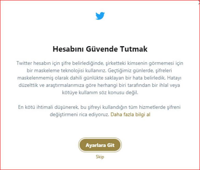 twitter şifre değiştirme