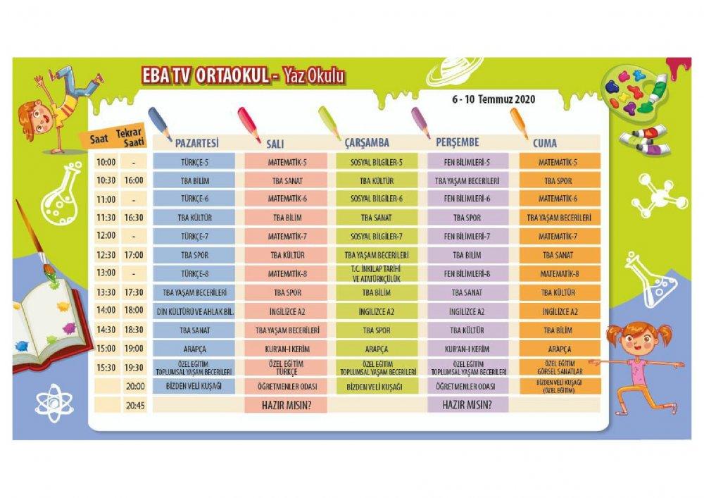 EBA TV 6 Temmuz Pazartesi ortaokul ders programı