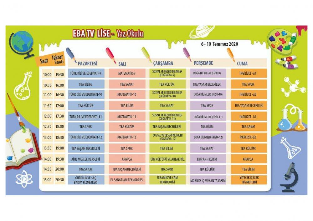 EBA TV 6 Temmuz Pazartesi lise ders programı