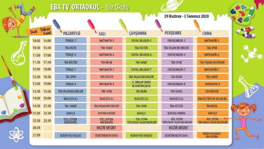 EBA TV 20 Temmuz Pazartesi ortaokul ders programı