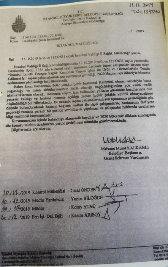 İstanbul Büyükşehir Belediyesi Genel Sekreter Yardımcısı Mehmet Murat Kalkanlı'nın İstanbul Valiliği'ne gönderdiği yazı