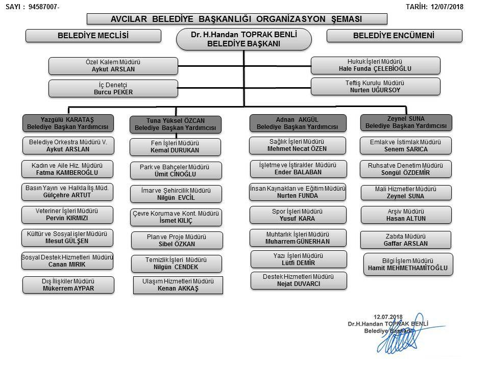 avcılar belediyesi organizasyon şeması