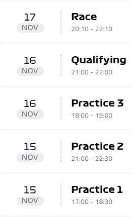 Formula 1 Brezilya yarışı ne zaman
