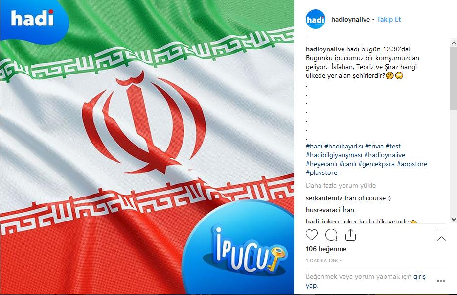 5 Aralık Hadi ipucu İsfahan,Tebriz ve Şiraz hangi ülkede yer alır?