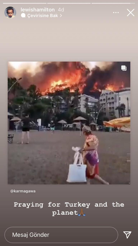 lewis hamilton formula 1 orman yangını
