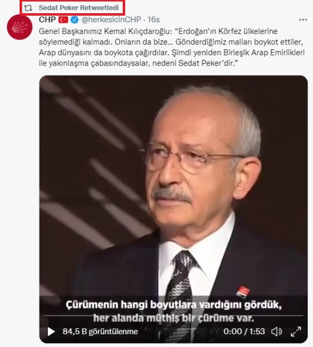 sedat peker kemal kılıçdaroğlu chp