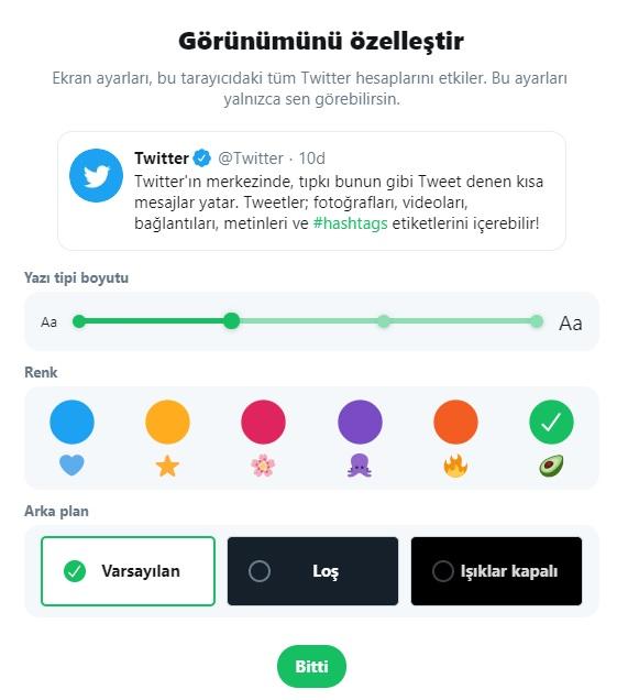 twitter renk değiştirme